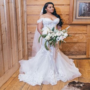 2020 Plus Size Mermaid Wedding Dresses Off-shoulder Full Appliqued Lace Wedding Gown Backles Sweep Train Custom Made Vestidos De Novia