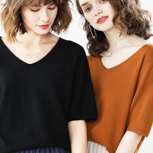 New Women Sweaters Spring And Summer Thin Pullover V Neck Sweater Short Sleeve Loose Size Five-Sleeve Knit Undershirt