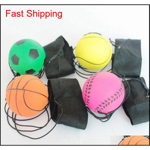 Wholesale-63Mm Bouncy Fluorescent Rubber Ball Wrist Band Ball Board Game Funny Elastic Ball Training Antistress Toy Outdoor Games Pcluu