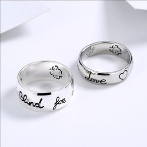 New Women Girl Flower Bird Pattern Ring with Stamp Blind for Love Letter Ring Gift for Love Couple High Quality Jewelry