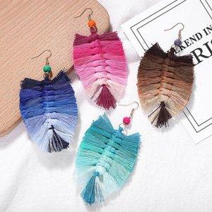 Farbverlauf Farbe Baumwollgewebe Webart Macrame Ohrringe Frauen Perlen Handgewebt Quaste Baumeln Ohrringe Böhmen Schmuck Drop Shipping