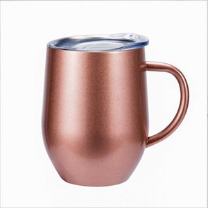 12oz Stainless Steel Coffee Cup With Lid Handle Egg Cup Tea Mug Water Bottle Wine Glasses Double Layer Mug Solid Tumbler sea way DHA2369