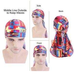 Imitation Silk Durag Hat Afrika Printing Long Tail Bonnet Verband Schal Frauen Männer Cape Cap Terylene Qualität 5 8yd M2