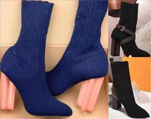 Ursprünglicher Stil Hohe Qualität Frauen Stiefel Silhouette Knöchelstiefel Schwarz Martin Booties Stretch High Heel Socken Stiefel Winter Frauen Schuhe