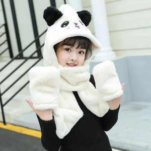 Yeni eldiven, şapka, boyunlar, sıcak üç parçalı tavşan saç çizgi film bebek, 2021 sonbahar ve kış çocuk eşarp işlemeli