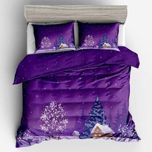 Violet Black Blue Farmhouse Queen Contoudre Duver Couverture Ensembles Literie Jeu de lits King Size Lit Couette Couverture Coussin d'oreiller