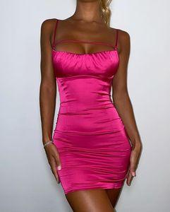 2020121007 Спагетти ремешок без спинки платье женщин сплошной без рукавов сексуальные мини платья дамы осень тощий пляжное одеяние платье Vestidos