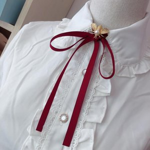 Simple Bee Bow Tie Shirt Collar Pin Fashion Pearl Ribbon Fabric Bowtie Brooches Women Student School Girls Clothing Accessories
