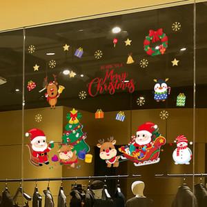 Christmas Bell Stickers Snowflake Snowman Elk Santa Wall Mural For Shopping Mall Glass Window Sticker Home Decor Wallpaper J1208