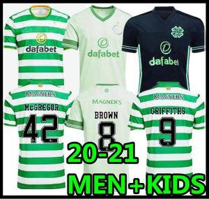 2020 2021 Celtic Futbol Formaları McGregor Griffiths 20 21 Duffy Forrest Kahverengi Christie Edouard Bayo Erkekler Çocuklar Futbol Gömlek