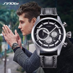 Relogio SINOBI New Creative Watches Men Fashion Leather Strap Chronograph Men Watches Male Big Dial Sports Quartz Analog Clock