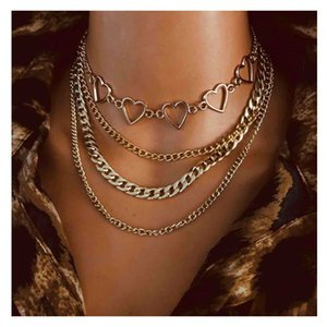 Punk Heart Choker Multilayer Chains Necklace Pendant Metal Hollow Thick Chain Link Necklaces for Women Handmade Statement Jewelry Collier