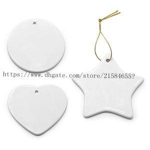 Blank White Sublimation Ceramic pendant Creative Christmas ornaments Heat transfer Printing DIY ceramic ornament heart round Chr