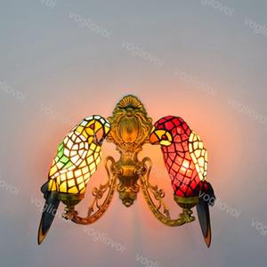 Parede Lâmpada Girassol Duplo Dirigido Europeu Retro Creative Animal Papagaio Multicolor Vidro Para Living Dining Sala Quarto Balcão DHL