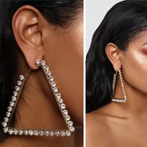 2020 New Women Fashion Shiny Rhinestone Triangle Charm Hoop Earrings Hot Sale Brand Alloy Geometric Collection Earrings Jewelry