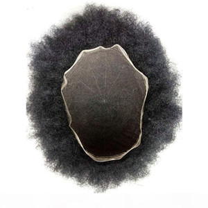 Aohai Toupee for Men Afro Kinky Curly Toupee All Lace Hairpieces Breathable Human Hair Bleached Knots Indian Hair System