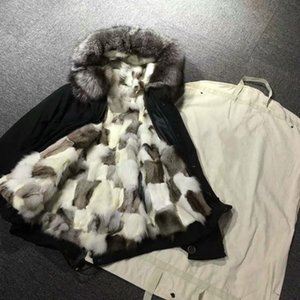 Silver fox fur trim Mukla furs white black lattice fox fur lining women MINI black parka winter snow coats