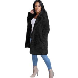Frauen Plüsch Revers Nackenmäntel Langarm Tasche Winter Warme Mäntel Damen Solide Farbe Outwear Damen