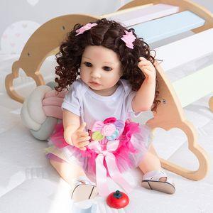 NPK 55CM reborn baby toddler pincess Original full body soft silicone flexible soft touch curly hair fashion girl doll Xmas Gift