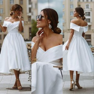 Cheap Vintage Bohemian Summer Beach Wedding Dresses Short A Line Off Shoulder Satin Tea Length Plus Size Corset Back Formal Bridal Gowns