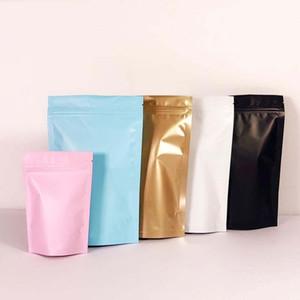 12 * 20 cm + 8 cm Aluminiumfolie Reißverschluss Mylar Taschen Steh auf Reißverschluss Selbstverschlussbeutel Trockenfutter Obst Tee Verpackung Beutel Baggies 0027pack