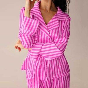 Hiloc rosa listrado cetim sleepwear manga longa pijama com calças duas peças faixas home wear spring lounge conjunto 2021 pijama