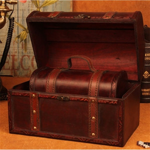 Wooden European suitcase vintage Gift jewelry box big zakka Storage map brown Leather hander W1219