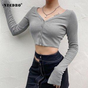 Needbo New Sexy Harajuku Женщины Футболка с длинным рукавом Топы женский Средний Корейский Стиль Кардиган Повседневная Корсет Топ 2021 Fashion1