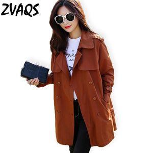 Zvaqs primavera outono casual trench casaco mulheres clássico duplo breasted manga comprida windbreaker feminino solto reto roupas jf218