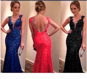 Hot Evening party Dresses for women Lace V Neck Backless Sexy mother off bride dresses long evening party dresses Plus Size S-XXXL