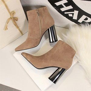 Hot Sasle-womens ankle extreme high heels sexy boots women winter boots block heel shoes woman shoes Thick heel winter