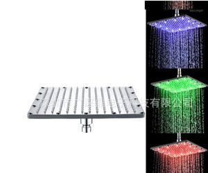 12-дюймовый 30x30см квадратный твердый латунный светодиодный дождь голова душа хромированная ванная комната потолочный распылитель1