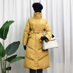 FTLZZ Winter Stand Collar Long Puffer Jacket Women Belt Pocket Coat 90% White Duck Down Thick Parkers Loose Warm Snow Outwear