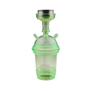 Starbucks Cup Hookah Pipe Glowing LED Glass Bong Water Hookah Milk Tea Cup Water Pipe Acrylic Dabber with 80cm Hose