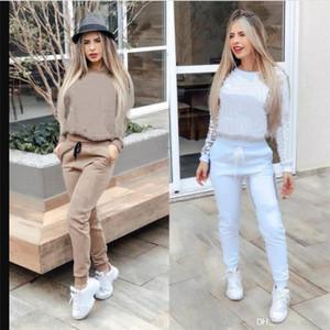 White Femmes Vêtements Deux pièces Ensembles de 2 pièces Ensemble Femme Sweat Femmes Sweat Suites Plus Taille Jogging Sport Stand Status Soft Long SkinSuit Sportswear