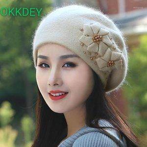 okkdey automne et hiver nouvelle mode coréenne polyvalente chapeau chaude chapeau chaude fille douce belle perle béret chapeau1