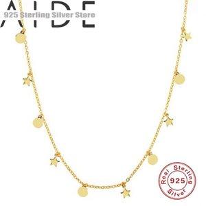 Catene Aide Real 925 Argento in argento sterling Collana rotonda e stella Pendente per distintivi per le donne Bracciaio con catena di gioielli Choker Bracele