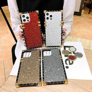 For iphone 12 11 pro xr xs max 8 7 plus glitter phone kickstand case diamond fashion women cover luxury designer bracket case