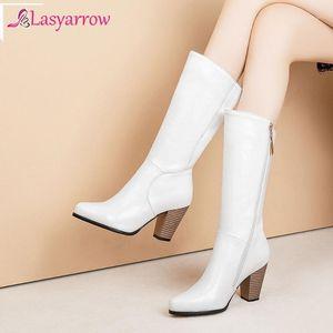 LasyRrow Women 2020 BIG TAMAÑO 34-52 RUSIA MEDIA BOOTS BOOTS MUJERES ZAPA DE MUJERES Tacón alto negro zapatos blancos mujer botas femeninas J9761