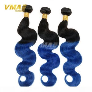 Two Tone 1B Blue Ombre virgin human Brazilian Hair Body Wave 3pcs Black And Blue Ombre Weave Ombre Human Hair Extensions Braiding hair