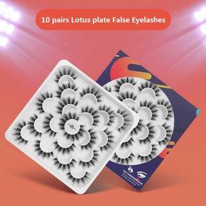10 Paare Lotus Porzellanplatte Natürliche lange falsche Wimpern 3D Faux Mink Falsche Wimpern Verlängerung Eye Makeup