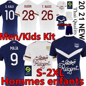 Adulte Kids Kits Girondins de Bordeaux Maillot de Football Shirt 2020 2021 Jerseys de football Maja Oudin S.Kalu Ben Arfa T.Basic Hommes Uniforme thaïlandais