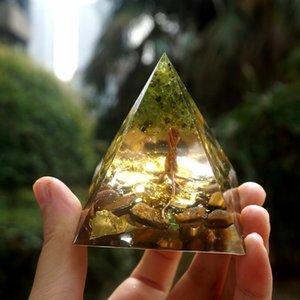 Árbol hecho a mano de la vida Pirámide Orgone de 60 mm Peridot con piedra de cristal de ojo de tigre, acumulador de orgone, EMF Orgonite Energ Qylogg