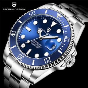 Movimiento PAGANI diseño de marca de lujo de buceo Relojes mecánicos automáticos de cerámica azul Bisel hombres del reloj de pulsera de acero inoxidable a prueba de agua