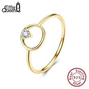 Effie Queen Simple Design Hollow Círculo Redondo Anillos Color Oro con Zircon 100% 925 Silver Finger Anillo Joyería Regalo de fiesta SR1911