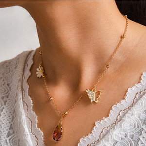 Crystal Daisy Flower Pendant Necklace for Women Long Clavicle Butterfly Chains Female Party Jewelry Accessories Gift Kimter-X985FZ