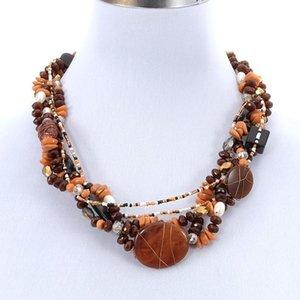 Statement Women Bohemin Trendy Ethnic Gemstone Layered Pearl Stone Beads Collar Choker Necklace Fashion Jewelry