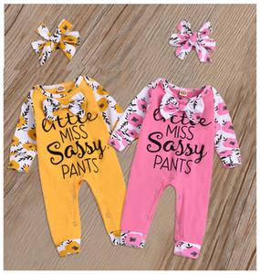 Kid Baby Girl Long Sleeve Cotton Letter Bow Romper + Headbands 2Pcs Set Infant Jumpsuit Playsuit Clothes