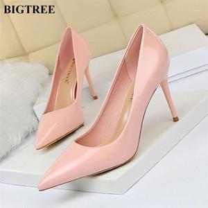 Bigtree Scarpe donna tacchi alti tacchi alti nero verniciatura di vernice scarpe da lavoro concise donne pompe puntate sexy stiletto femme femme #