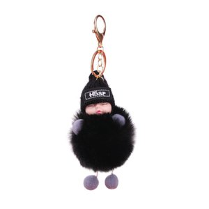 Cute Cartoon Sleeping Doll Keychain Fur Ball Plush KeyChain Keyring Women Handbag Car Key Holder Bag Pendant Toys for Kids Gift